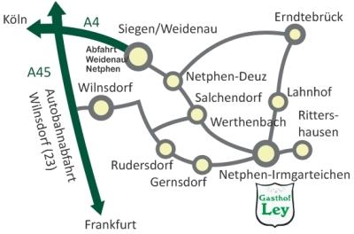 Anfahrtskarte zum Gasthof Ley